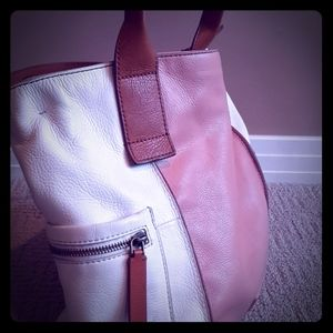 Fossil White & Peach Leather Tote